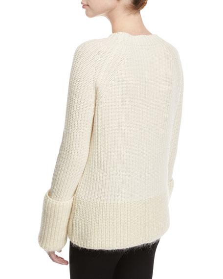 Wide Gauge Crew-Neck Sweater, White