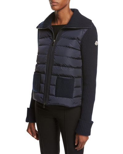 Maglia Zip-Front Knit Combo Jacket, Navy
