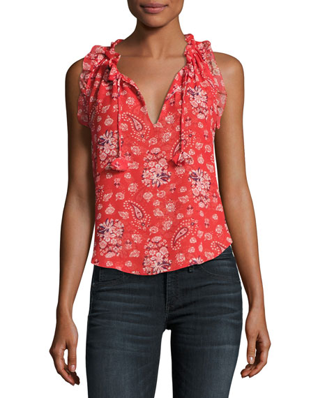 Abril Bandana Split-Neck Sleeveless Top