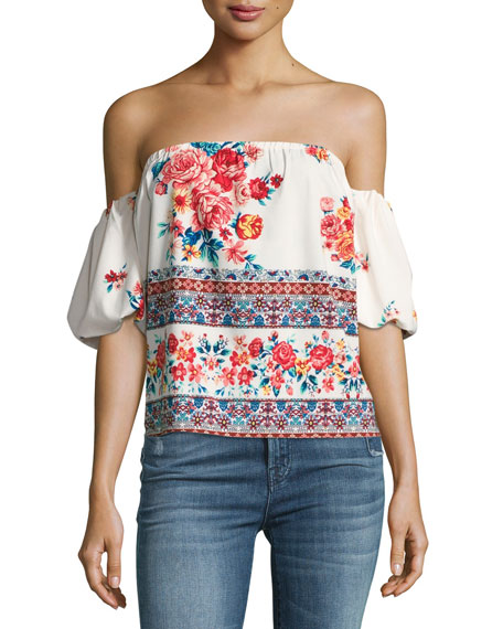 MISA Los Angeles Renata Floral-Print Off-the-Shoulder Top