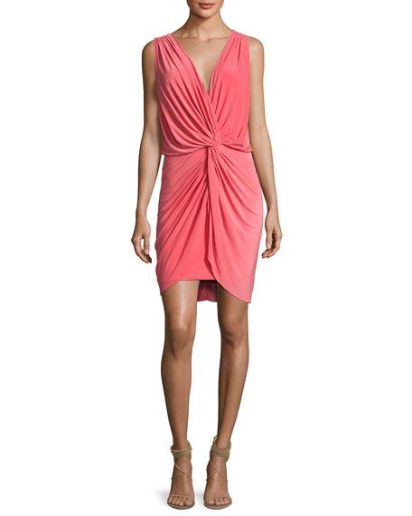 MISA Los Angeles Leza Gathered Crossover Sleeveless Dress,