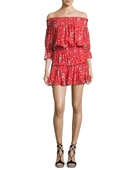 MISA Los Angeles Smocked Off-the-Shoulder Mini Dress