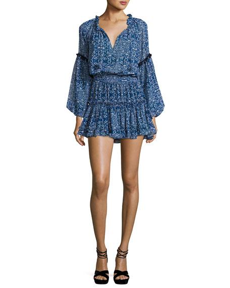 MISA Los Angeles Lizeth Printed Split-Neck Mini Dress
