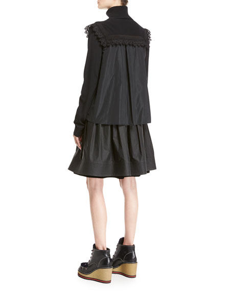 Maglia Mixed-Media Turtleneck Sweater W/ Lace Detail, Black