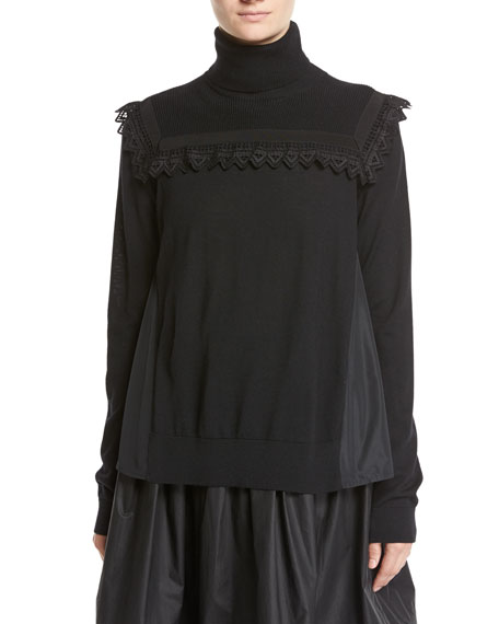 Moncler Maglia Mixed-Media Turtleneck Sweater W/ Lace Detail,