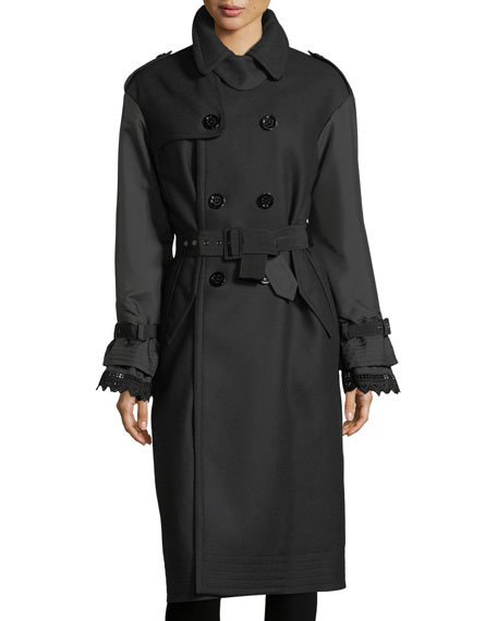 Moncler Susanne Mixed-Media Belted Trenchcoat