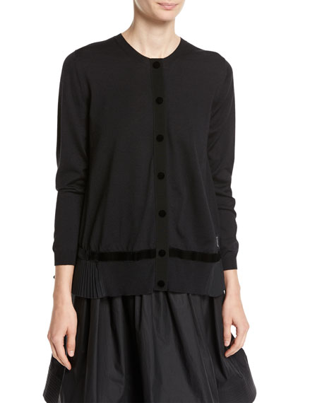 Velvet Trim Cardigan Sweater, Black