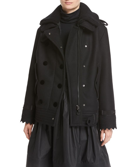 Clarissa Double-Breasted Mixed-Media Coat, Black