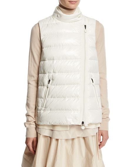 Moncler Jane Mixed-Media Quilted Puffer Vest, Natural