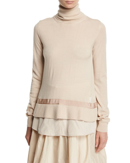Turtleneck Shirttail Combo Knit Sweater, Ivory