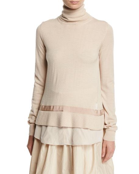 Moncler Turtleneck Shirttail Combo Knit Sweater, Ivory