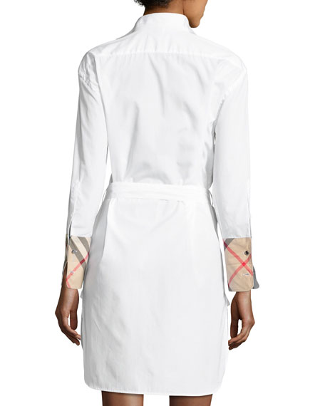 Madeline Pintucked Tie-Waist Shirtdress