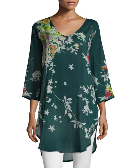 Ficher Scoop-Neck 3/4-Sleeve Printed Blouse, Plus Size