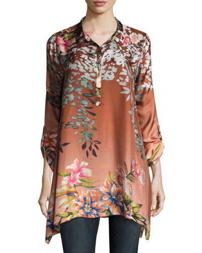 Pacheo Long-Sleeve Collared Silk Twill Tunic, Plus Size