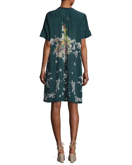 Phipps Short-Sleeve Henley Printed Dress W/ Slip