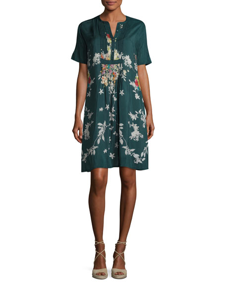 Johnny Was Phipps Short-Sleeve Henley Printed Dress W/