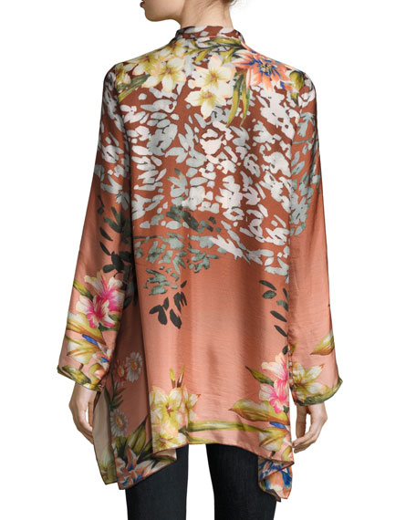 Pacheo Long-Sleeve Collared Silk Twill Tunic