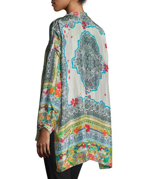 Karino Button-Front Silk Printed Blouse