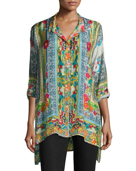 Karino Button-Front Silk Printed Blouse