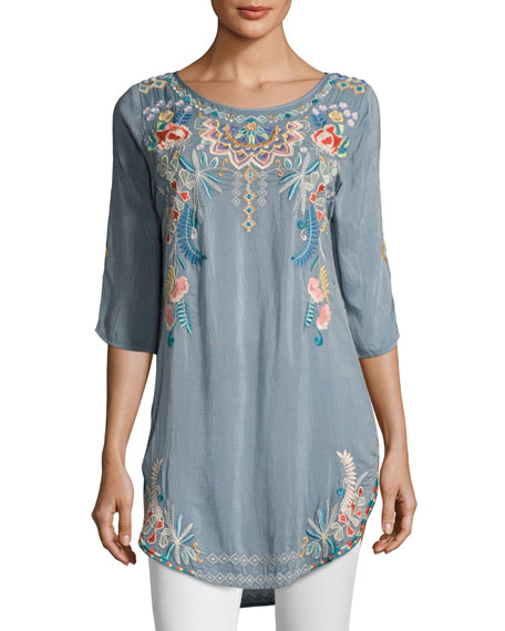 Sindri Georgette Long Embroidered Tunic Top
