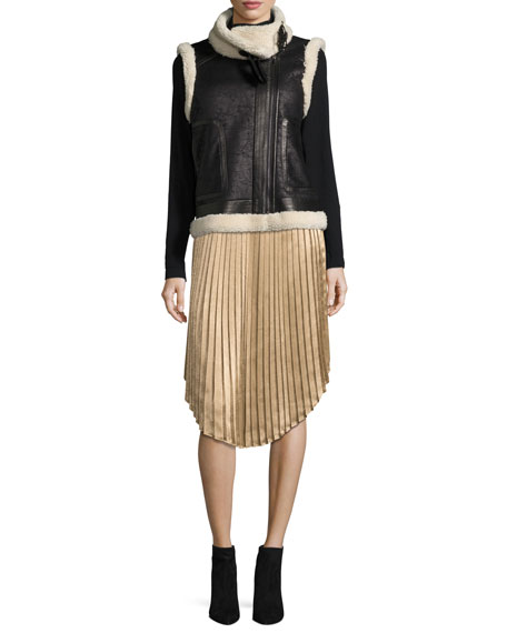 Kambree Pleated Midi Skirt, Gold