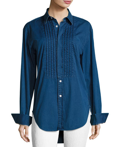 Jaden Big Shirt with Pintucked Front, Dark Blue