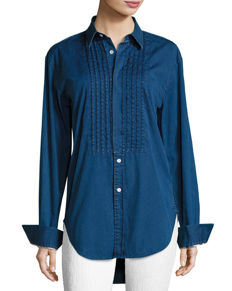 Burberry Jaden Big Shirt with Pintucked Front, Dark