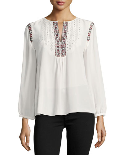 Clema Long-Sleeve Silk Top, White