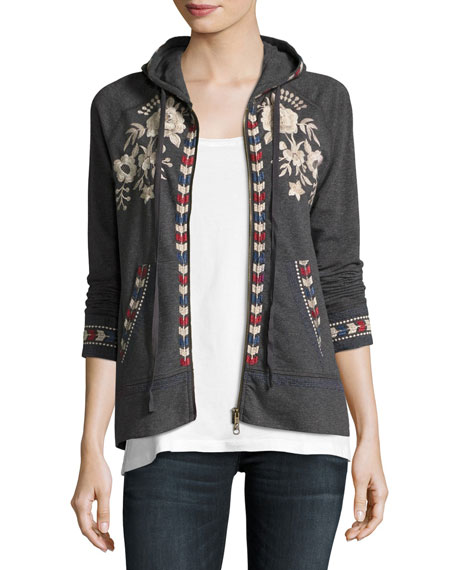 Zoe Embroidered Zip-Front Hoodie, Plus Size