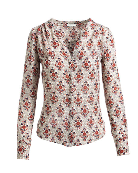 Jamiona Long-Sleeve Printed Silk Blouse