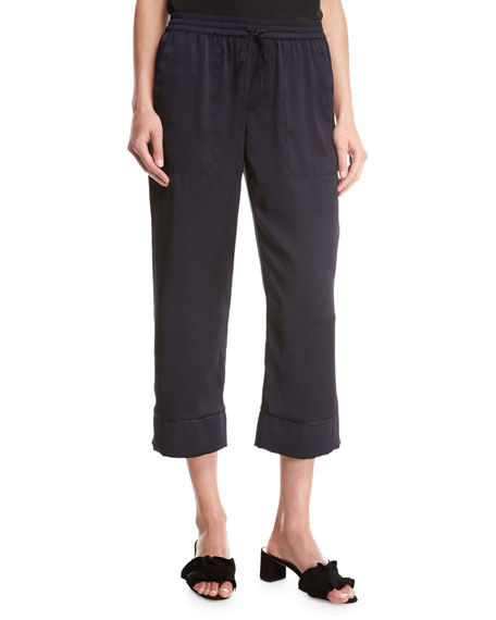 Joie Anelise Sateen Drawstring Pants, Navy