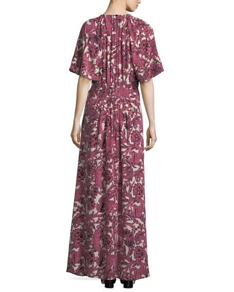 Low V-Neck Drop-Waist Maxi Dress