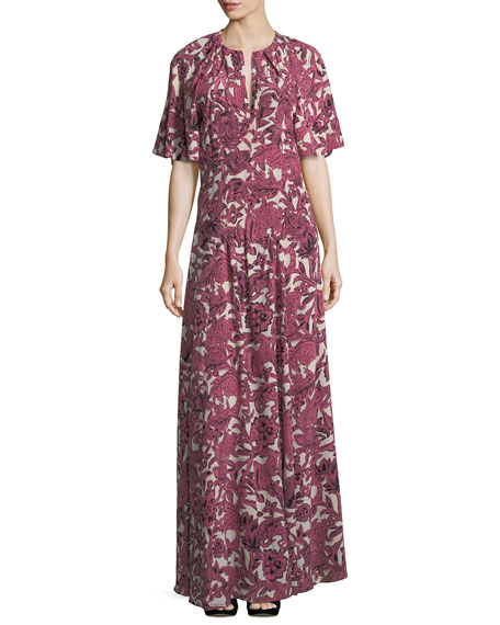 Burberry Low V-Neck Drop-Waist Maxi Dress