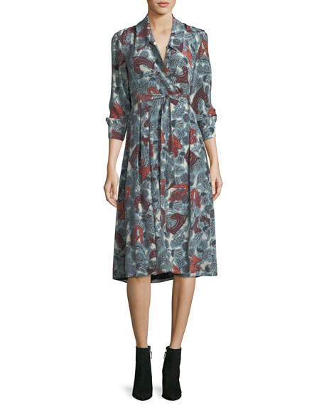 Burberry Heritage Printed Silk Wrap Dress
