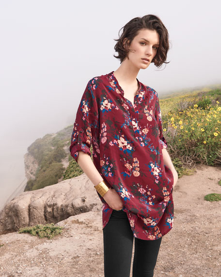 Skyler Split-Neck Floral-Print Silk Tunic, Plus Size