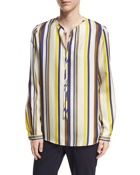 Eli Long-Sleeve Carnaby Stripe Silk Blouse