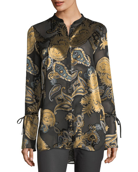 Lafayette 148 New York Desra Long-Sleeve Renaissance Paisley