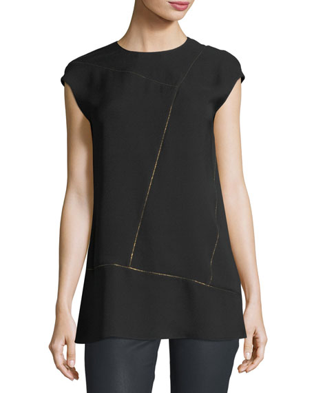 Aspen Cap-Sleeve Chain-Trim Silk Blouse