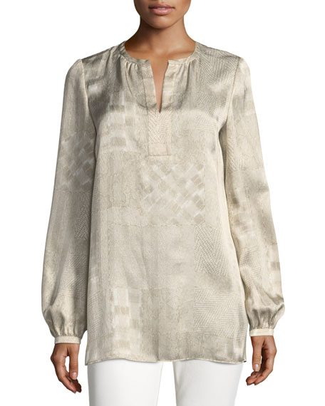 Lolita Long-Sleeve Patchwork Jacquard Silk Blouse