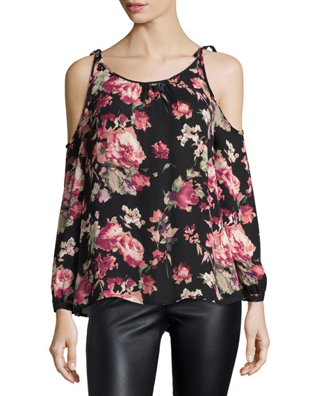 Joie Jilette Long-Sleeve Floral-Print Silk Top