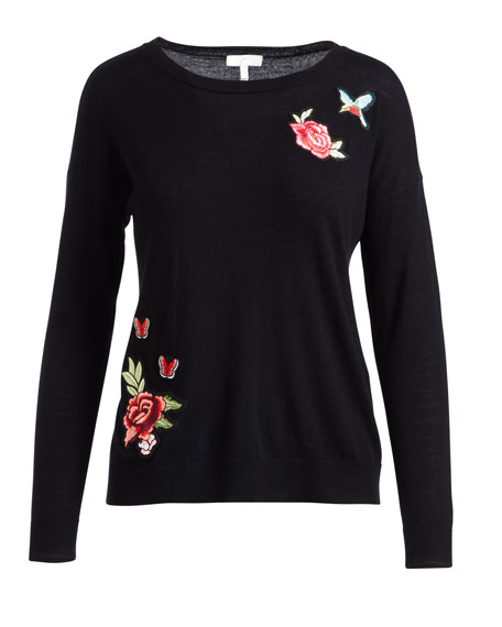 Audrea Crewneck Sweater w/ Floral Embroidery