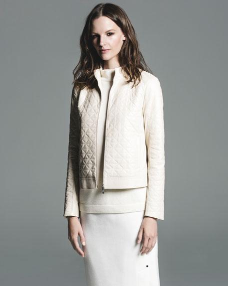 Sleeveless Mock-Neck Sequin-Trim Cashmere Pullover