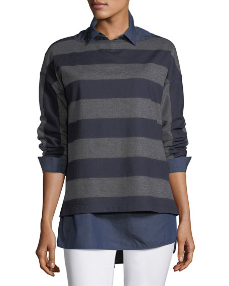 Lafayette 148 New York Bateau-Neck Striped Wool Jersey