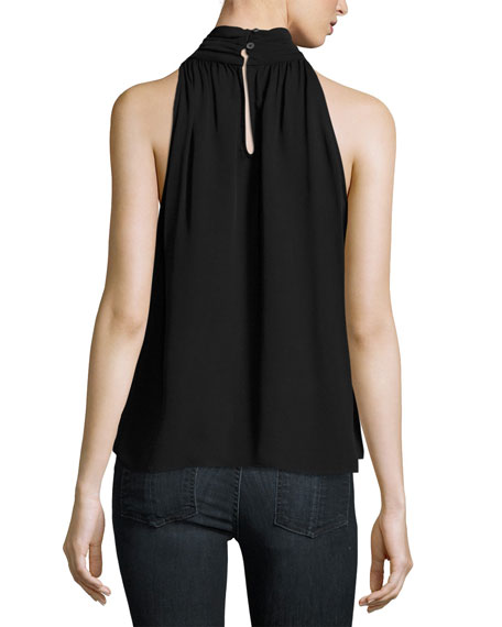 Erola Sleeveless Silk Top, Black