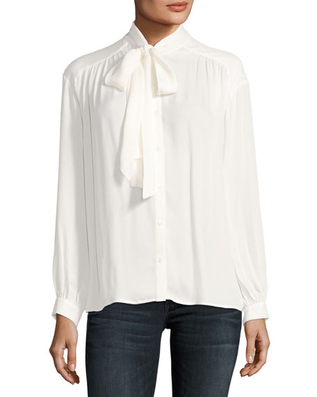 Joie Esti Long-Sleeve Silk Top, White