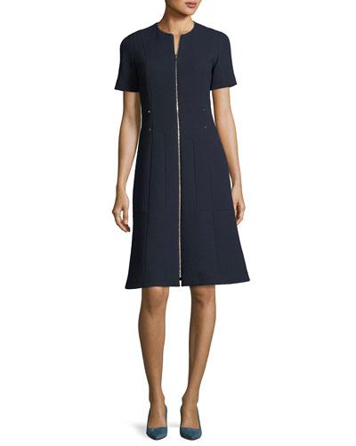 Sonya Short-Sleeve Zip-Front Wool Crepe Dress