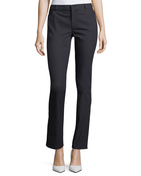 Lafayette 148 New York Thompson Diamond Stretch-Jacquard Slim-Leg