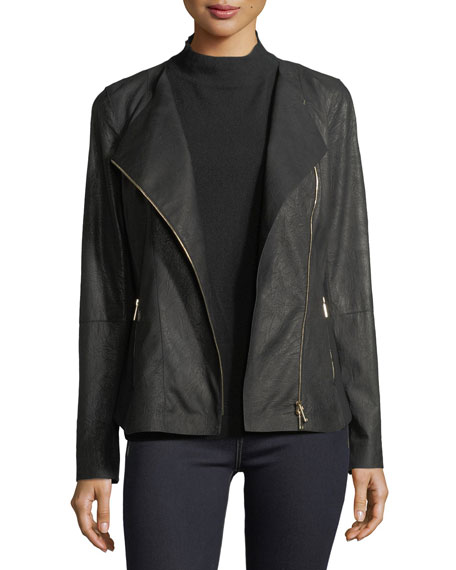Lafayette 148 New York Aimes Weathered Lambskin Moto