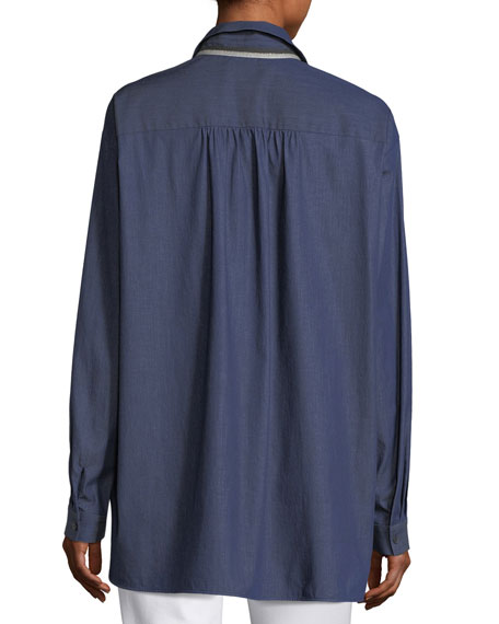 Kia Long-Sleeve Stretch-Denim Blouse