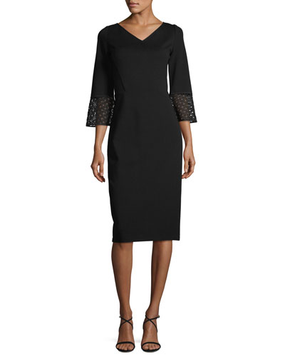 Lace-Trim 3/4-Sleeve Punto Milano Sheath Dress